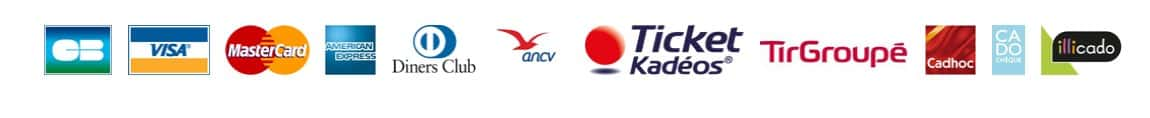 Moyens de paiement acceptés : CB, Visa, MasterCard, Amex, ANCV, Ticket Kadeos, Tir Groupé, Cadhoc